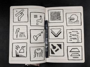 minimal drawing: spread 1